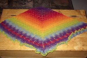 Rainbow Swallowtaill Shawl, ready for blocking